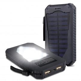 Batterie Externe Énergie Solaire Antichoc avec Lampe de Poche à LED