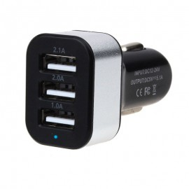 Chargeur USB 5V pour Voiture 3 Sorties 2.1A / 2.0A / 1.0A